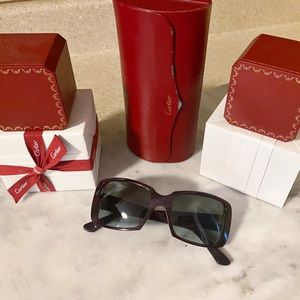 Auth. Cartier Maroon Sterling Silver C Sunglasses